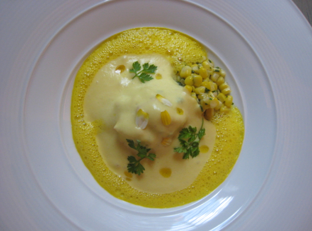 Peekytoe Crab with Sweet Corn and Saffron, Juni, NYC