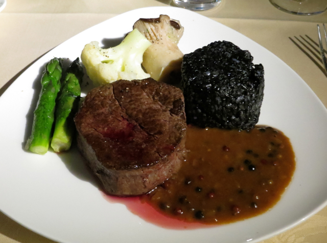 Asiana First Class Suites Review - Wagyu Steak with Sepia Risotto