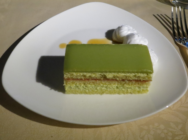 Asiana First Class Suites Review - Green Tea Torte with Caramel Sauce