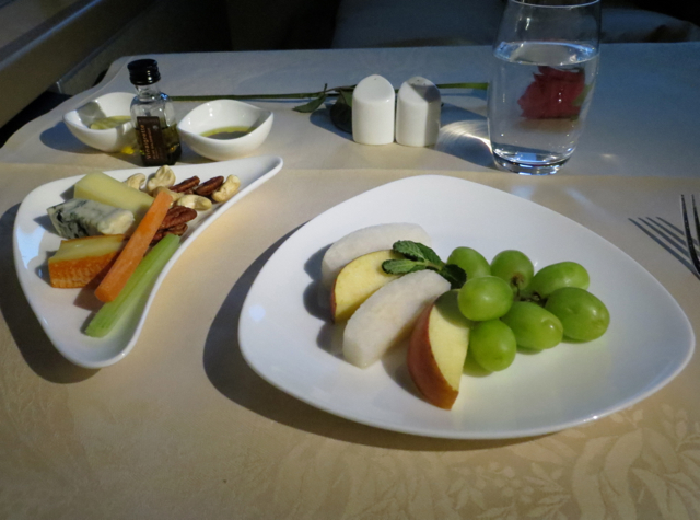 Asiana First Class Suites Review - Cheese Plate and Fresh Fruit