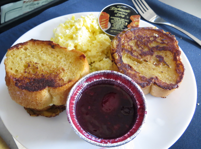 Alaska Airlines First Class Review - French Toast with Cherry Sauce