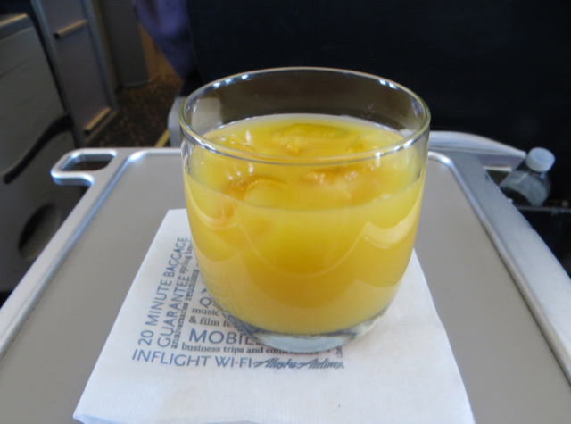 Alaska Airlines First Class Review - Pre-Flight Orange Juice