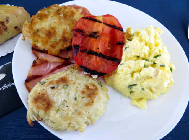 Alaska Airlines First Class - Scrambled Eggs, Ham and Potatoes
