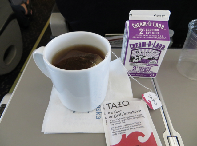 Alaska Airlines First Class Review - Tazo Tea with Milk
