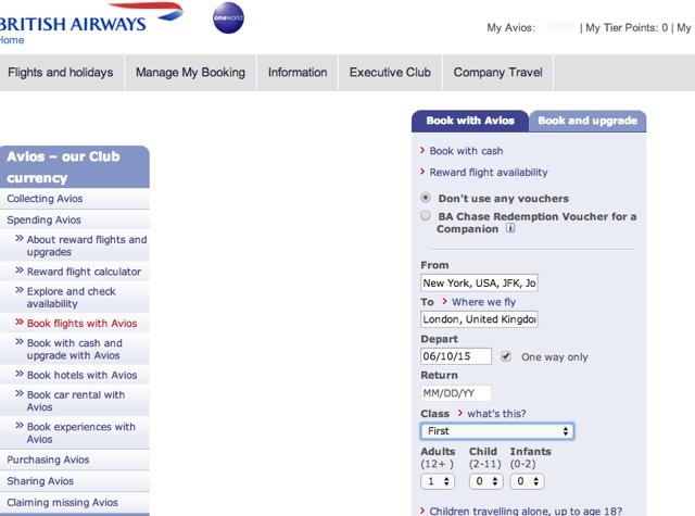 British Airways Companion Ticket One Way - Start with Regular Award Search
