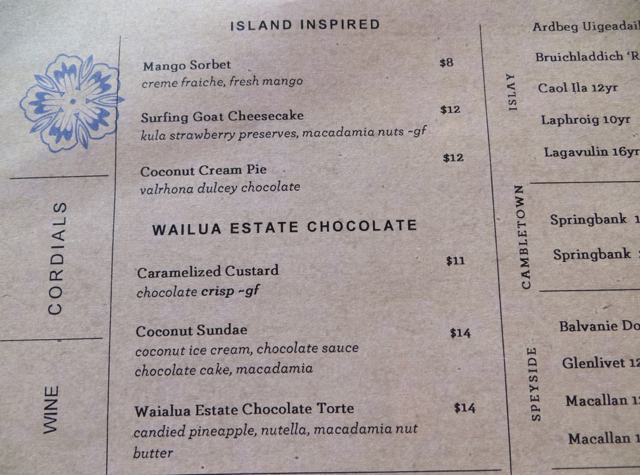 Ka'ana Kitchen Dessert Menu
