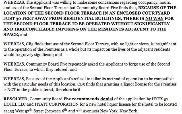 Park Hyatt New York: No Liquor License