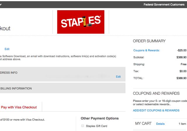 Visa Checkout $25 Off $100 in Visa Gift Cards at Staples.com ...