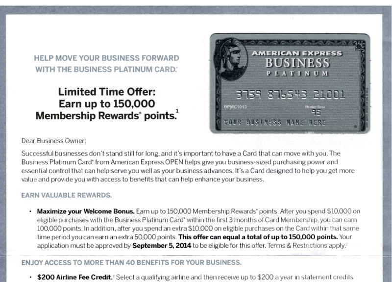 150K AMEX Business Platinum Bonus Offer