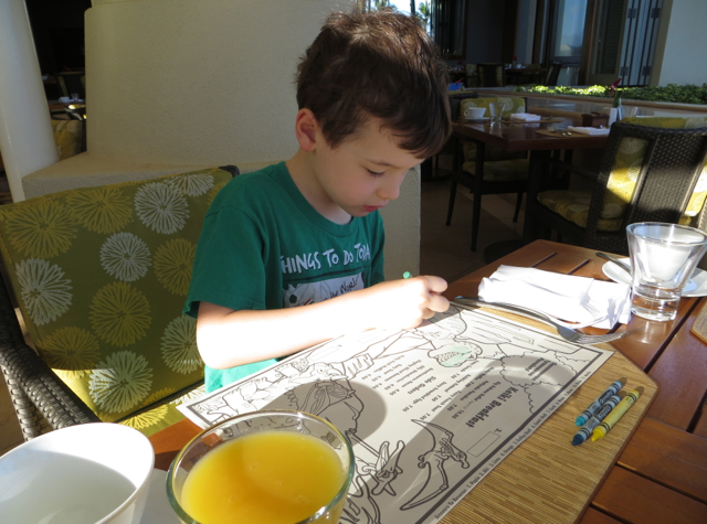 Kids Coloring Placemat at DUO, Four Seasons Maui