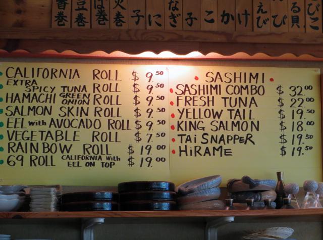Koiso Sushi Bar Review - Menu-Sushi Rolls and Sashimi
