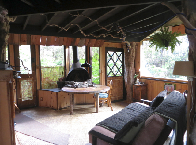 Hawaii Volcano Treehouse Review - Living Room and Fireplace