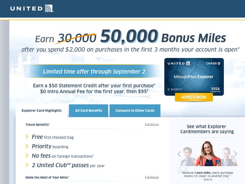 55K United MileagePlus Explorer with $50 Statement Credit