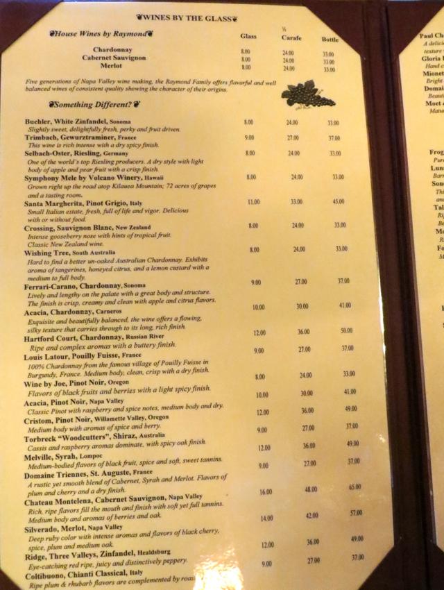 Kilauea Lodge Wine List