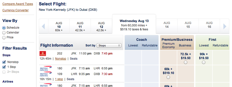 Emirates A380 First Class Award Availability For Two