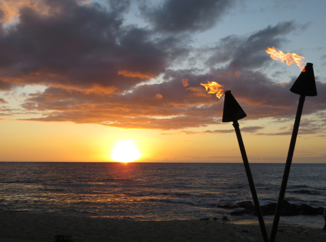 View of Sunset from 'ULU Ocean Grill, Four Seasons Hualalai