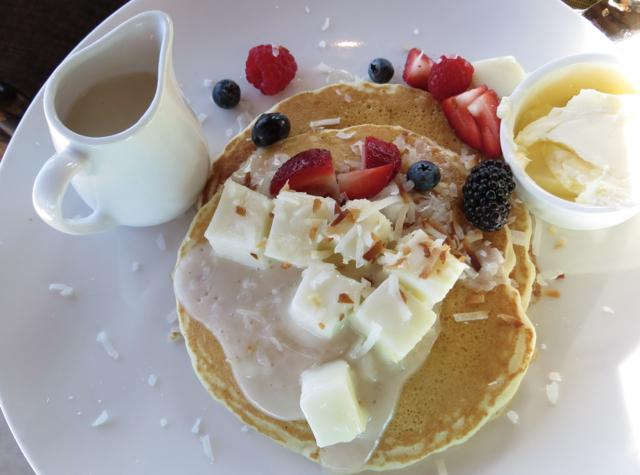 Coconut Haupia Pancakes, Breakfast at 'ULU at Four Seasons Hualalai