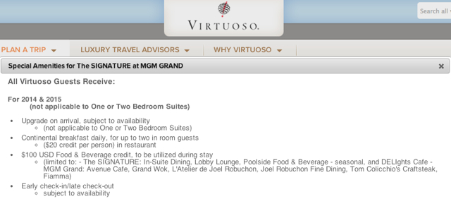 The Signature at MGM Grand Virtuoso Benefits