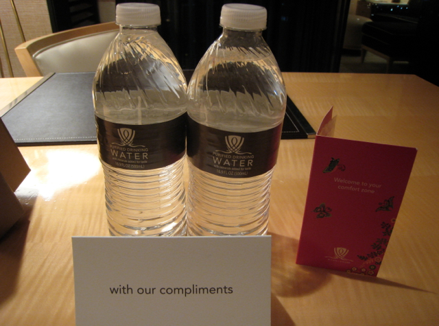Complimentary Bottled Water and Fragrance for Tower Guests