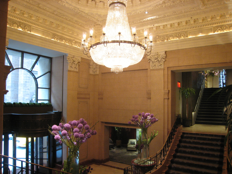 The Peninsula New York Review - Lobby Chandelier and Flowers