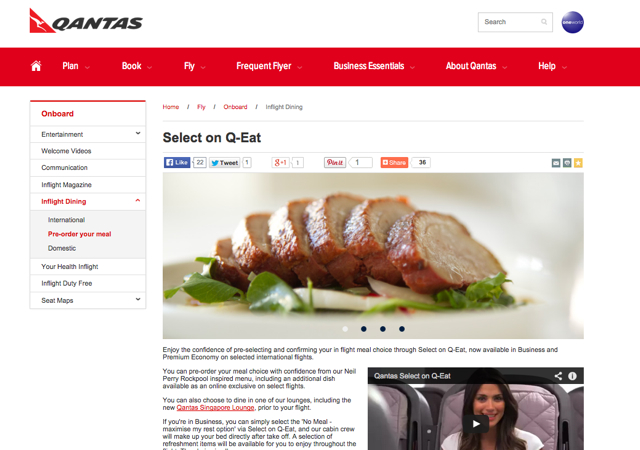 Best Airlines to Pre-Order Meals - Qantas Select on Q-Eat