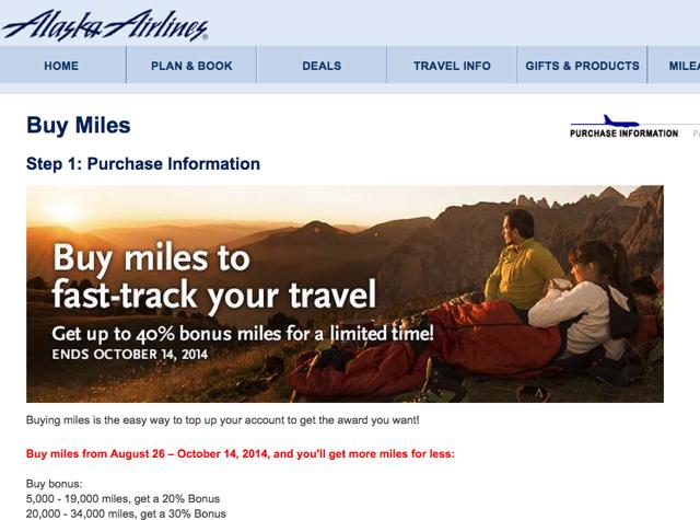 Alaska Mileage Plan Buy Miles: 40% Bonus