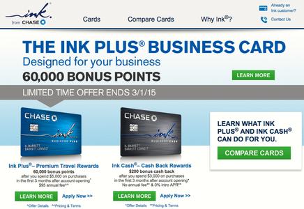 60K Ink Plus Business Card Bonus fer