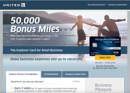50K United MileagePlus Explorer Business Card Bonus Offer ...