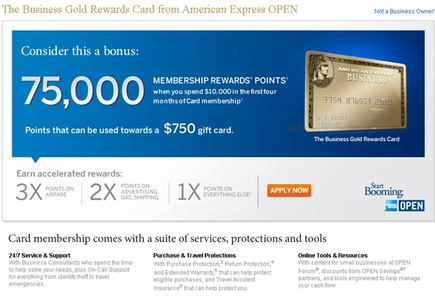 AMEX Business Gold Rewards Card 75 000 Points for 2 Days